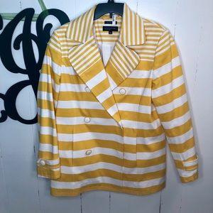 Jones NY Yellow/White Stripe Double Breast Jacket
